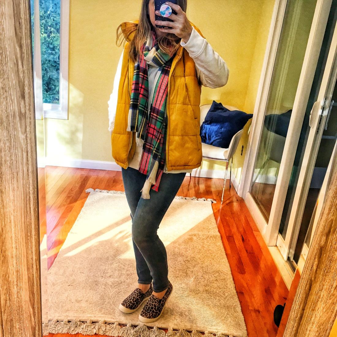 on mustard vest
